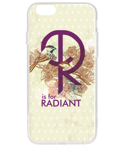 R is for Radiant - iPhone 6 Carcasa Transparenta Silicon