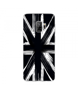 Black UK Flag - Samsung Galaxy S9 Carcasa Transparenta Silicon
