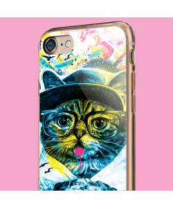 Hipster Meow - iPhone 7 Carcasa Transparenta Silicon