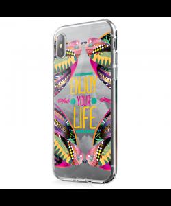 Enjoy Your Life - iPhone X Carcasa Transparenta Silicon