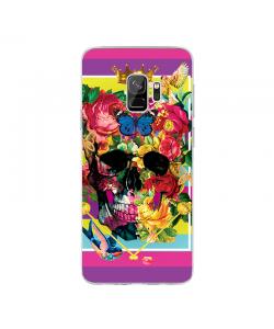 Floral Explosion Skull - Samsung Galaxy S9 Carcasa Transparenta Silicon