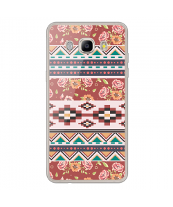 Floral Aztec - Samsung Galaxy J7 Carcasa Silicon Transparent