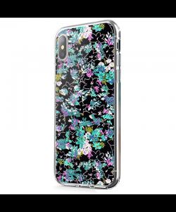 Floral Black - iPhone X Carcasa Transparenta Silicon