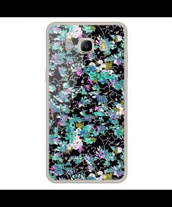 Floral Black - Samsung Galaxy J7 Carcasa Silicon Transparent