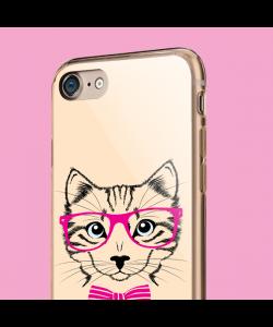Hipster Cat - iPhone 7 / iPhone 8 Carcasa Transparenta Silicon