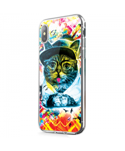Hipster Meow - iPhone X Carcasa Transparenta Silicon