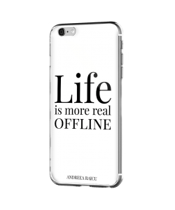 """Life is more real offline"" - Alb - iPhone 6 Plus Carcasa Silicon Premium"