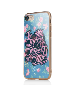 Queen of the Streets - Floral Blue - iPhone 7 / iPhone 8 Carcasa Transparenta Silicon