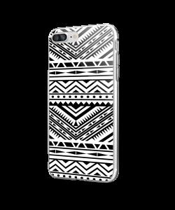 Tribal Black & White - iPhone 7 Plus / iPhone 8 Plus Carcasa Transparenta Silicon
