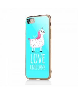 Love Unicorns - iPhone 6/6S Carcasa Transparenta Silicon