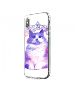 Galaxy Cat - iPhone X Carcasa Transparenta Silicon