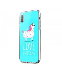 Love Unicorns - iPhone X Carcasa Transparenta Silicon