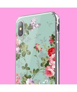 Retro Flowers Wallpaper - iPhone X Carcasa Transparenta Silicon