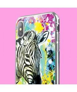Zebra Splash - iPhone X Carcasa Transparenta Silicon
