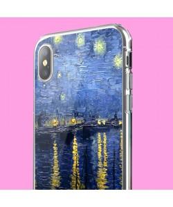 Van Gogh - Starryrhone - iPhone X Carcasa Transparenta Silicon