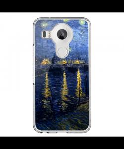 Van Gogh Starry Rhone - LG Nexus 5X Carcasa Transparenta Silicon