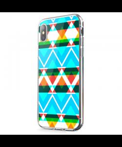 Neon Aztec - iPhone X Carcasa Transparenta Silicon