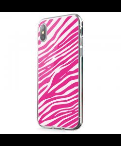 Pink Zebra - iPhone X Carcasa Transparenta Silicon