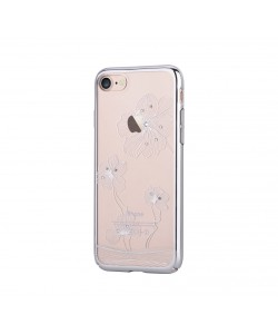 Crystal Flora 360 Silver - Comma iPhone 7 / iPhone 8 Carcasa (Cristale Swarovski®, electroplacat)