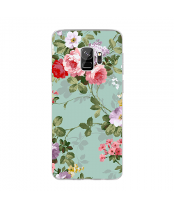Retro Flowers Wallpaper - Samsung Galaxy S9 Carcasa Transparenta Silicon