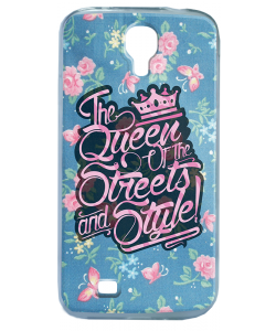 Queen of the Streets - Floral Blue - Samsung Galaxy S4 Carcasa Transparenta Silicon