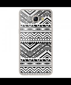 Tribal Black & White - Samsung Galaxy J7 Carcasa Silicon Transparent