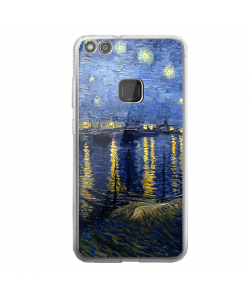 Van Gogh - Starryrhone - Huawei P10 Lite Carcasa Transparenta Silicon
