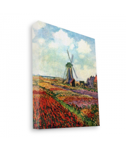 Claude Monet - Fields of Tulip With The Rijnsburg Windmill - Canvas Art 35x30