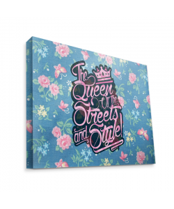 Queen of the Streets - Floral Blue - Canvas Art 75x60