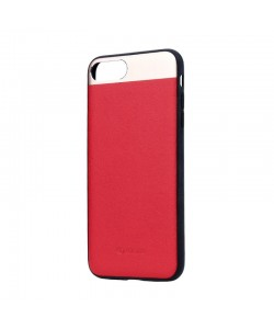 Vivid Leather Red - Comma iPhone 7 Plus / iPhone 8 Plus Carcasa (Piele naturala, aluminiu si margini flexibile)
