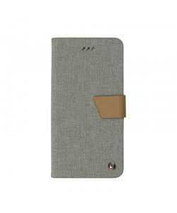 Just Must Book Linen Gray - iPhone 7 / iPhone 8 Husa Book (material textil cu silicon in interior)