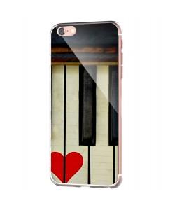 Piano Love - iPhone 6 Carcasa Transparenta Silicon