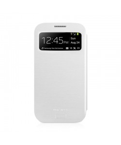 Macally Wallet - Samsung Galaxy S4 Husa Book Alba Piele