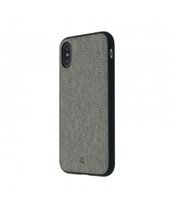 Occa Linen Car Gray - iPhone X Carcasa PC (margini flexibile, material textil, placuta metalica integrata)