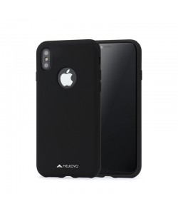 Meleovo Liquid Jacket - iPhone X Carcasa Silicon Negru (touch ultrasoft, catifelat)
