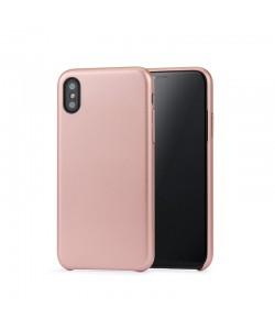 Meleovo Pure Gear II Rose Gold - iPhone X Carcasa (culoare metalizata fina, interior piele intoarsa)