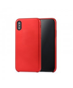 Meleovo Pure Gear II Red - iPhone X Carcasa (culoare metalizata fina, interior piele intoarsa)