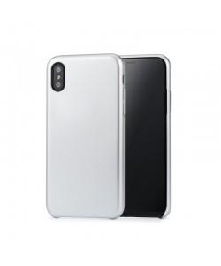 Meleovo Pure Gear II Silver - iPhone X Carcasa (culoare metalizata fina, interior piele intoarsa)