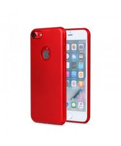 Meleovo 360 Shield - iPhone 8 Carcasa Plastic Rosu (culoare metalizata fina, captuseala din microfibra)