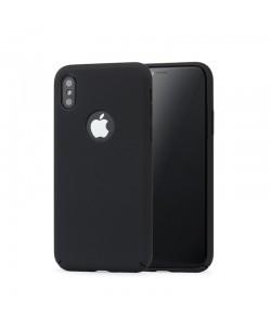 Meleovo 360 Shield - iPhone X Carcasa Plastic Negru (culoare metalizata fina, captuseala din microfibra)