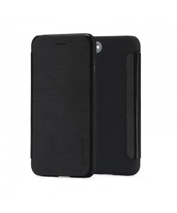 Meleovo Smart Flip Black - iPhone 8 Husa Flip (spate mat perlat si fata cu aspect metalic)