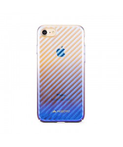 Meleovo Flash Carbon Red - iPhone 8 Carcasa Plastic (cu reflexii Albastre)
