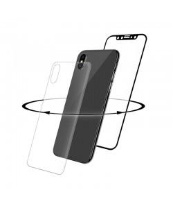 Folie Eiger Sticla 3D 360° Clear Black (0.33mm, 9H, curved, folie sticla spate inclusa) - iPhone X