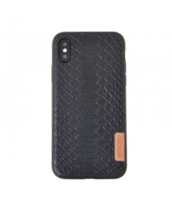 Meleovo Python Black - iPhone X Carcasa TPU (textura croco, margini flexibile)