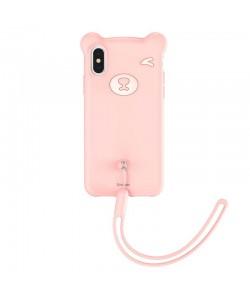 Baseus Bear Pink - iPhone XS Max Carcasa Silicon