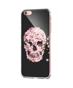 Cherry Blossom Skull - iPhone 6 Carcasa Transparenta Silicon