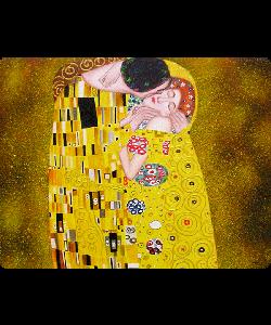 Gustav Klimt - The Kiss - Samsung Galaxy S6  Husa Book Neagra Piele Eco