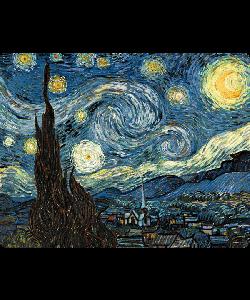 Van Gogh - Starry Night - Sony Xperia Z3 Husa Book Neagra Piele Eco