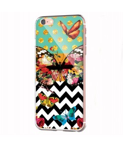 Butterfly Contrast - iPhone 6 Carcasa Transparenta Silicon