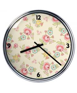 Ceas personalizat - Pastel Flowers Wallpaper
